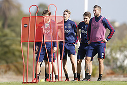 (L-R), Dennis Johnsen of Ajax, Carel Eiting of Ajax, Mitchell Dijks of Ajax during a training session of Ajax Amsterdam at the Cascada Resort on January 10, 2018 in Lagos, Portugal