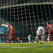 Galatasaray's scores during their Turkish Super League soccer derby match Torku Konyaspor between Galatasaray at the Konya Buyuksehir Belediyesi Torku Arena at Selcuklu in Konya Turkey on Saturday, 13 December 2014. Photo by Kurtulus YILMAZ/TURKPIX