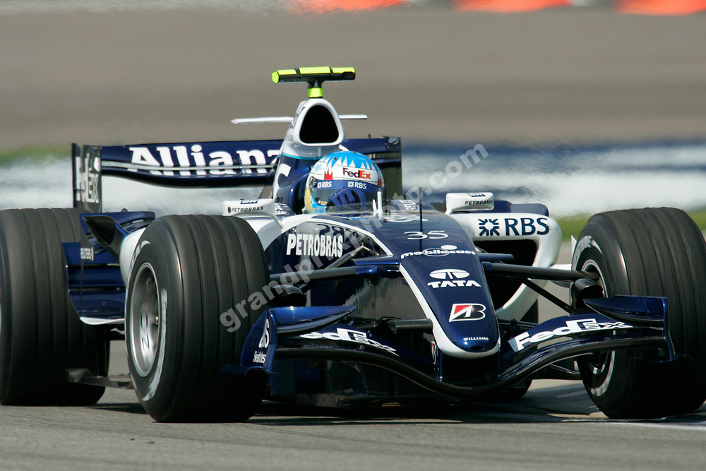 Williams-Cosworth third driver Alexander Wurz during friday practice for the 2006 United States Grand Prix in Indianapolis. Photo: Grand Prix Photo