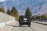 Shooting in San Bernardino.<br /> Police rescue vehicle patrolling the street son San Bernardino after the mass shootings.