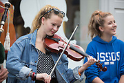 **NO REPRO FEE** Iona Reid and Megan O'Brien from Glasgow enjoying the Fleadh in Ennis on Monday. Photograph by Eamon Ward