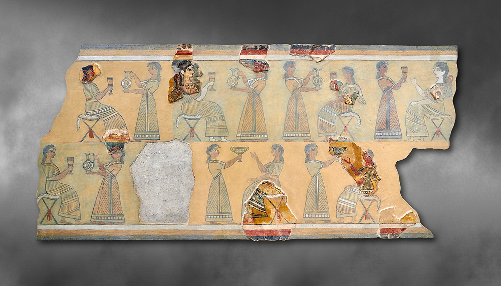 The Minoan ' Camp Stool' wall art fresco from the West vwing of Knossos Palace, 1450-1300 BC. Heraklion Archaeological Museum.  Grey Background. <br /> <br /> This Minoan fresco probably depicted a typical banquet at Knossos Palace held in the Upper Hall of the West Wing. Figures seated on 'camp stools' are raising cups and kylikes. A female figure with Mediterranean features wearing vivid make up named ' La Parisienne' by Arthur Evans, has a large 'sacred knot' bunched behind her head and maybe she was a priestess. .<br /> <br /> If you prefer to buy from our ALAMY PHOTO LIBRARY  Collection visit : https://www.alamy.com/portfolio/paul-williams-funkystock/minoan-art-artefacts.html . Type -   Heraklion   - into the LOWER SEARCH WITHIN GALLERY box. Refine search by adding background colour, place, museum etc<br /> <br /> Visit our MINOAN ART PHOTO COLLECTIONS for more photos to download  as wall art prints https://funkystock.photoshelter.com/gallery-collection/Ancient-Minoans-Art-Artefacts-Antiquities-Historic-Places-Pictures-Images-of/C0000ricT2SU_M9w