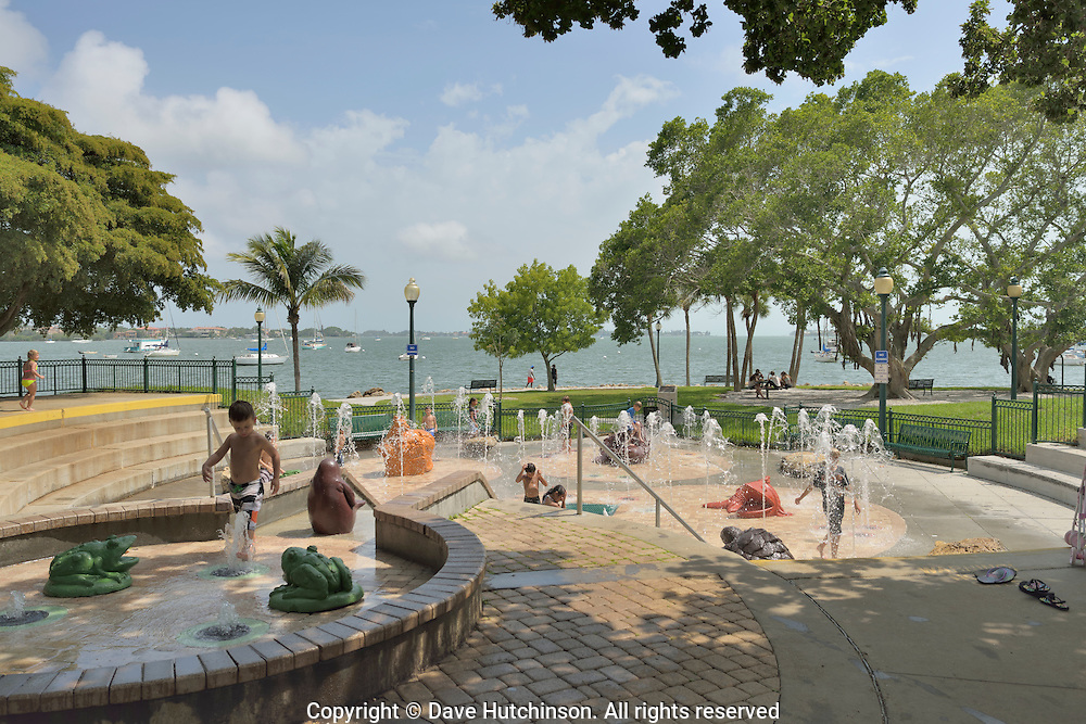 The Children's Fountain at Bayfront Park in downtown Sarasota, Florida, provides a safe place for children and families to play.