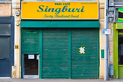 Closed for business, Thai Restaurant Singburi where on Tuesday, December 18, food safety officers uncovered dead mice festering in food preparation and storage areas at  the premises in High Road, Leytonstone. London, January 09 2019.