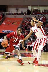 17 January 2015:   Tramique Sutherland handles the ball against DeVaughn Akoon-Purcell during an NCAA MVC (Missouri Valley Conference men's basketball game between the Bradley Braves and the Illinois State Redbirds at Redbird Arena in Normal Illinois
