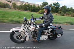 Mark Wiebens riding his 1927 Harley-Davidson JD during Stage 14 - (284 miles) of the Motorcycle Cannonball Cross-Country Endurance Run, which on this day ran from Meridian to Lewiston, Idaho, USA. Friday, September 19, 2014.  Photography ©2014 Michael Lichter.