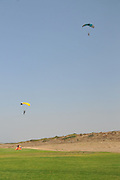 Paragliding during the jump