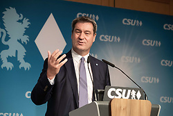 April 29, 2019 - Munich, Bavaria, Germany - Bavaria's Prime Minister and CSU chairman Markus Soeder speaking. The CSU held a Symposium on the next European Elections in the Hanns Seidel Stiftung in Munich on 29.4.2019. (Credit Image: © Alexander Pohl/NurPhoto via ZUMA Press)