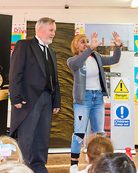 Ahead of the construction of the HS2 railway line, actors from ARC Theatre do a presentation on the dangers of construction sites to junior school children from year five at Maple Cross Junior School. Maple Cross Junior School, Maple Cross, Herts, February 20 2018.