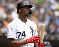 CHICAGO - JUNE 01:  Eloy Jimenez #74 of the Chicago White Sox looks on against the Cleveland Indians on June 1, 2019 at Guaranteed Rate Field in Chicago, Illinois.  (Photo by Ron Vesely)  Subject:  Eloy Jimenez