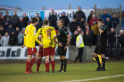 Ref Gavin Duncan separates the players after a second half melee. Albion Rover 1 v 2 Airdrie, Scottish League 1 game played 5/11/2016 at Cliftonhill.