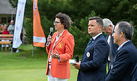 HILVERSUM - Caroline Huyskes , president NGF.  and Haukur Örn Birgisson (EGA) .    ELTK Golf 2020 The Dutch Golf Federation (NGF), The European Golf Federation (EGA) and the Hilversumsche Golf Club will organize Team European Championships for men.  COPYRIGHT KOEN SUYK