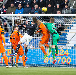 Falkirk's Lee Miller has his goal disallowed. Falkirk 3 v 0 Dundee United, Scottish Championship game played 11/2/2017 at The Falkirk Stadium.