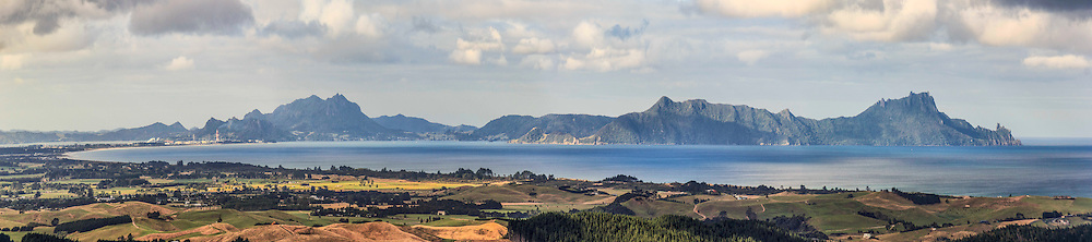 Bream Bay from the top of the Brynderwyns, the Whangarei Heads stretch out across the horizon, available in canvas or print:<br /> <br /> Print  $185<br /> Framed $445<br /> Canvas $225<br /> <br /> Image size L:800mm x H:200mm. <br /> <br /> Larger print size are available up to 1.8 metres in length!<br /> <br /> To order direct, contact Alan through the contact tab above or at info@alansquires.co.nz<br /> <br /> Available to view and purchase from my studio gallery (Rathbone Street) or The Bach, town basin - Whangarei