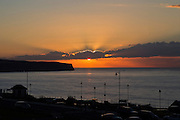 Sunset over the beautiful scenery and buildings of Whitby in North Yorkshire, England