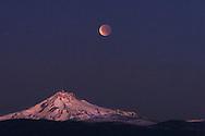 Total lunar eclipse over Mt. Jefferson.  December 2011