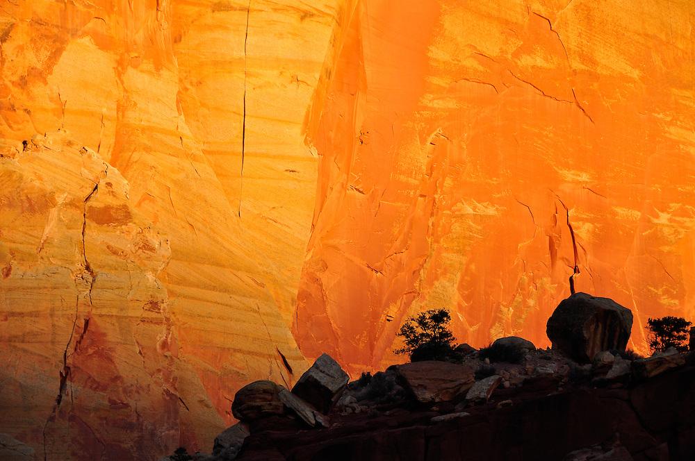 Sunset on canyon wall, Capital Reef National Park, Utah.