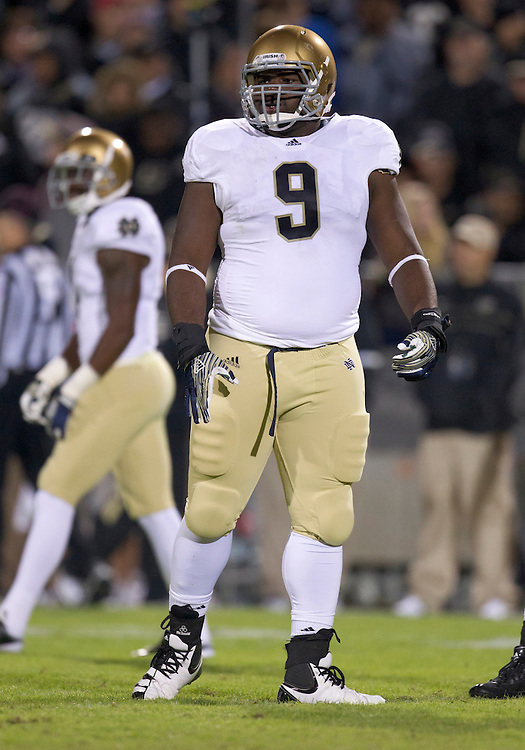 October 01, 2011:  Notre Dame nose guard Louis Nix III (#9) during NCAA Football game action between the Notre Dame Fighting Irish and the Purdue Boilermakers at Ross-Ade Stadium in West Lafayette, Indiana.  Notre Dame defeated Purdue 38-10.