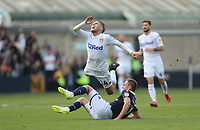 Leeds United's Samu Saiz is challenged by Millwall's Jed Wallace<br /> <br /> Photographer Rob Newell/CameraSport<br /> <br /> The EFL Sky Bet Championship - Millwall v Leeds United - Saturday 15th September 2018 - The Den - London<br /> <br /> World Copyright © 2018 CameraSport. All rights reserved. 43 Linden Ave. Countesthorpe. Leicester. England. LE8 5PG - Tel: +44 (0) 116 277 4147 - admin@camerasport.com - www.camerasport.com