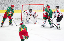 Goalkeeper of Austria Andreas Brenkusch   during the ice hockey match between National teams of Lithuania (LTU) and Austria (AUT) at 2011 IIHF World U20 Championship Division I - Group B, on December 12, 2010 in Ice skating Arena, Bled, Slovenia.  (Photo By Vid Ponikvar / Sportida.com)