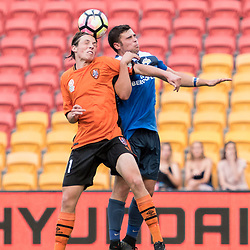 BRISBANE, AUSTRALIA - MARCH 25: Thomas Fanning of SWQ Thunder and Finn Beakhurst of the Roar compete for the ball during the round 5 NPL Queensland match between the Brisbane Roar and SWQ Thunder at Suncorp Stadium on March 25, 2017 in Brisbane, Australia. (Photo by Patrick Kearney/Brisbane Roar)