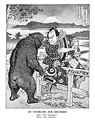 "An Interlude for Discussion. Japan. ""Yah! Pro-Chink!"" Russia. ""Yah! Pro-Nazi!"" (The Russian-Japanese Frontier has broken following The Battle of Lake Khasan in their ongoing border conflicts)"