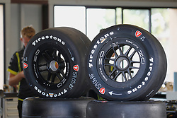 September 14, 2018 - Sonoma, CA, U.S. - SONOMA, CA - SEPTEMBER 14: New Firestone tires sit in the garage area at the Verizon IndyCar Series practice for the Grand Prix of Sonoma on September 14, 2018, at Sonoma Raceway in Sonoma, CA. (Photo by Larry Placido/Icon Sportswire) (Credit Image: © Larry Placido/Icon SMI via ZUMA Press)