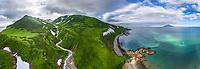 Aerial view of North Kurile Islands, Kamchatka, Russia