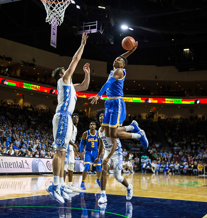 Nov 23  2018 Las Vegas, NV  U.S.A.  UCLA  guard Jaylen Hands (4) drives to the basket and slam dunk during the NCAA Men's Basketball Continental Tire Las Vegas Invitational between UCLA Bruins and the North Carolina Tar Heels 78-94 lost at The Orleans Arena Las Vegas, NV. Thurman James / CSM