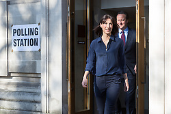 © Licensed to London News Pictures. 05/05/2016. LONDON, UK.  Prime Minister, DAVID CAMERON and his wife, SAMANTHA CAMERON leaving after casting an election vote in the London elections to elect a the new Mayor of London and London Assembly members at Westminster Methodist Central Hall this morning.  Photo credit: Vickie Flores/LNP