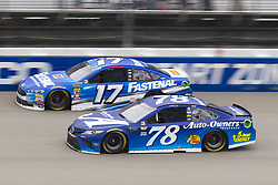 June 10, 2018 - Brooklyn, Michigan, U.S - NASCAR drivers RICKY STENHOUSE JR. (17) and MARTIN TRUEX JR. (78) come out of turn four during the 50th Annual FireKeepers Casino 400 at Michigan International Speedway. (Credit Image: © Scott Mapes via ZUMA Wire)