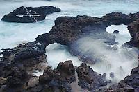 El Charco azul, natural swimming pools, near Puerto Espindola, La Palma Island, Canary Islands, Spain.