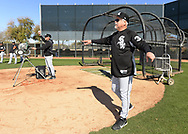 GLENDALE, ARIZONA - FEBRUARY 20:  Manager Ricky Renteria #36 of the Chicago White Sox looks on during spring training workouts on February 20, 2019 at Camelback Ranch in Glendale Arizona.  (Photo by Ron Vesely). Subject:   Rick Renteria