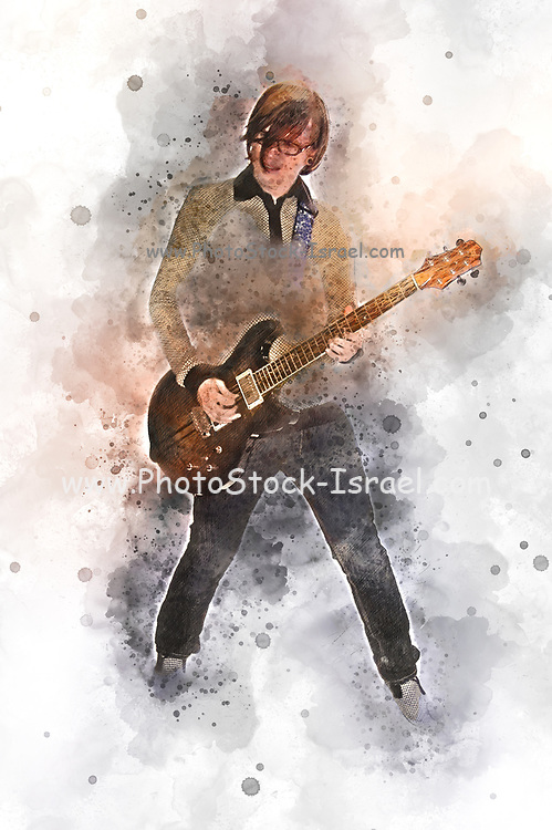 Digitally enhanced image of a young male Caucasian guitarist in his early 20s in black jeans playing an electric guitar full body shot.