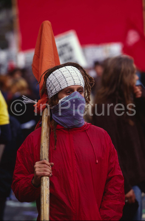Demonstrators on Anti Globalisation march Prague, Czech Republic