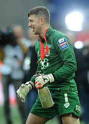 Bristol City Goalkeeper, Frank Fielding celebrates after winning the Johnstone Paint Trophy - Photo mandatory by-line: Dougie Allward/JMP - Mobile: 07966 386802 - 22/03/2015 - SPORT - Football - London - Wembley Stadium - Bristol City v Walsall - Johnstone Paint Trophy Final