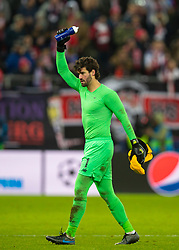 SALZBURG, AUSTRIA - Tuesday, December 10, 2019: Liverpool's goalkeeper Alisson Becker celebrates afterfinal UEFA Champions League Group E match between FC Salzburg and Liverpool FC at the Red Bull Arena. Liverpoolwon 2-0. (Pic by David Rawcliffe/Propaganda)