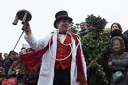 © Licensed to London News Pictures. 04/01/2014. London, UK. A Twelfth Night celebration of the New Year, that mixes<br /> ancient Midwinter seasonal customs and contemporary festivity is performed by the Lions part, near Shakespeare's Globe on Bankside in London today.  Photo credit : Vickie Flores/LNP
