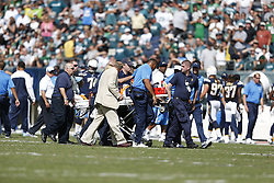 San Diego Chargers wide receiver Malcom Floyd #80 is carried off the field on a stretcher during the NFL game between the San Diego Chargers and the Philadelphia Eagles at Lincoln Financial Field in Philadelphia, Pennsylvania. The Chargers won 33-30. (Photo by Brian Garfinkel)