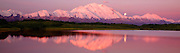 The full moon and Mt. McKinley from Reflection Pond, Denali National Park, Alaska.