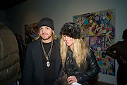 JAMIE STIMPSON AND HOLLY BOWDEN, Happiness- Private view of work by Barry Reigate. Paradise Row, London and afterwards at Mark hix's new restaurant. ix Oyster and Chop House, 37-37 Greenhill Rents, Cowcross St, EC1. 14 March 2008. <br /> *** Local Caption *** -DO NOT ARCHIVE-© Copyright Photograph by Dafydd Jones. 248 Clapham Rd. London SW9 0PZ. Tel 0207 820 0771. www.dafjones.com.