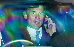 © Licensed to London News Pictures. 12/06/2019. London, UK. Conservative Party leadership candidate Foreign Secretary Jeremy Hunt leaves Parliament. He leaves after the fifth round of voting in the Conservative Party leadership ballot.  Photo credit: George Cracknell Wright/LNP