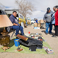 021913       Brian Leddy<br /> Danny Willie sells his wares at the Crownpoint Flea Market Tuesday during lunch. Members of the community are trying to bring about economic development and one of the first things they would like to do is find a better site for the flea market.