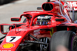 October 21, 2018 - Austin, TX, U.S. - AUSTIN, TX - OCTOBER 21: Ferrari driver Kimi Raikkonen (7) of Finland waits to drive onto COTA track prior to the F1 United States Grand Prix on October 21, 2018, at Circuit of the Americas in Austin, TX. (Photo by John Crouch/Icon Sportswire) (Credit Image: © John Crouch/Icon SMI via ZUMA Press)
