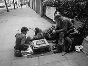Peter, John and David, Homeless men playing chess. Peter on the left was winning! Clerkenwell Rd. London. 23 August 2017