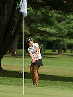 Victoria Elizabeth chips a shot onto the 5th green at the LPGA Symetra Tour Friday afternoon at Beaver Meadow Golf Course.  (Karen Bobotas/for the Concord Monitor)