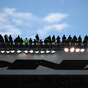 Team spotters are seen on the rooftop prior to the NASCAR Sprint Unlimited Race at Daytona International Speedway on Saturday, February 16, 2013 in Daytona Beach, Florida.  (AP Photo/Alex Menendez)