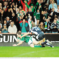 23 February 2008; Ireland's Marcus Horan scores his side's third try. RBS Six Nations Rugby Championship, Ireland v Scotland, Croke Park, Dublin. Picture credit; Brendan Moran / SPORTSFILE