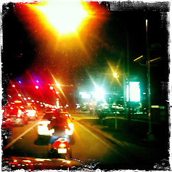 Traffic and street lights. Orlando holiday 2012. Photo taken with the Hipstamatic photo application on Apple iPhone 4.