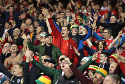 Wales' fans in the stands during the UEFA Nations League, League B, Group four match at The Aviva Stadium, Dublin.